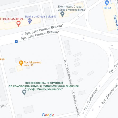 мап от Професионална гимназия по компютърни науки и математически анализи Стара Загора